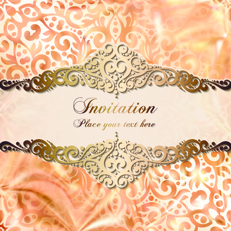Gold wedding invitation card template design with damask pattern on silky background. Lacy intricate textile effect. Illustration