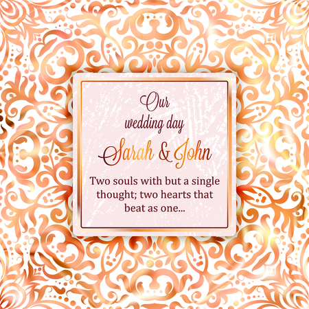 Rose Gold Wedding Invitation Card Template Design With Damask