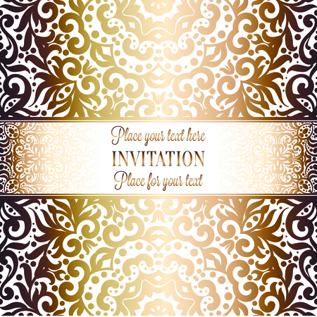 Wedding Invitation Card Template Design With Damask Pattern Royalty
