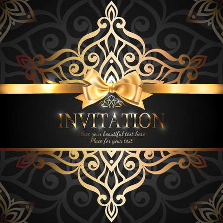 Gorgeous and shiny invitation card or banner with gold ribbon bow and place for text on black background with delicate lacy pattern Иллюстрация