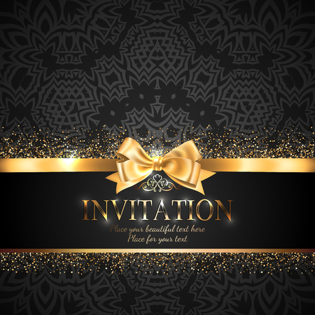 Gorgeous and shiny invitation card or banner with gold ribbon bow and sparkling golden glitter on black background with delicate pattern Иллюстрация