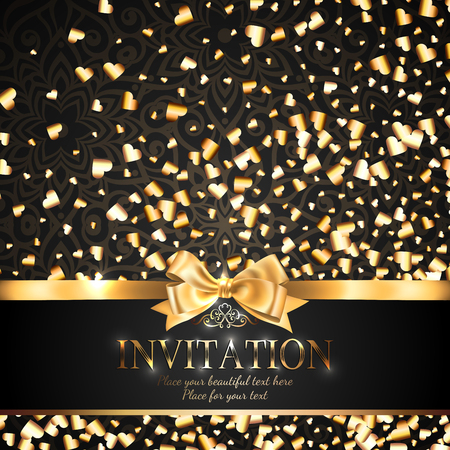Gorgeous and shiny invitation card or banner with gold ribbon bow and sparkling golden hart-shaped glitter on black background with delicate pattern