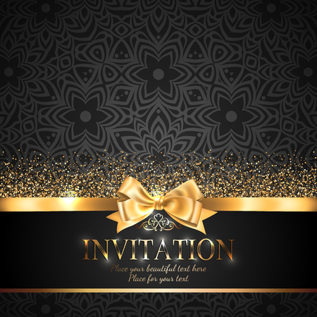 Gorgeous and shiny invitation card or banner with gold ribbon bow and sparkling golden glitter on black background with delicate pattern Vettoriali