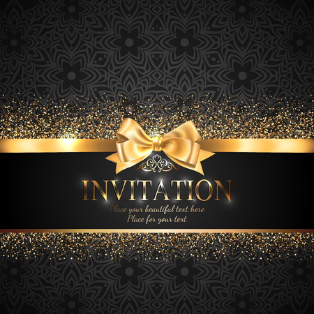 Gorgeous and shiny invitation card or banner with gold ribbon bow and sparkling golden glitter on black background with delicate pattern  イラスト・ベクター素材