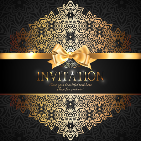 Gorgeous and shiny invitation card or banner with gold ribbon bow and place for text on black background with delicate lacy pattern  イラスト・ベクター素材