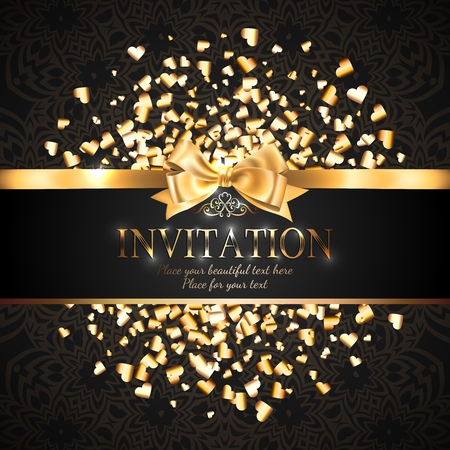 Gorgeous and shiny invitation card or banner with gold ribbon bow and sparkling golden hart-shaped glitter on black background with delicate pattern  イラスト・ベクター素材