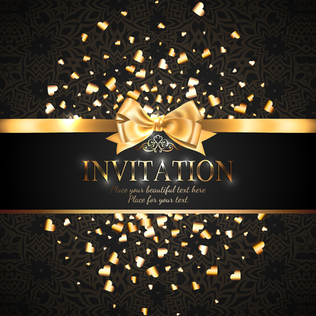 Gorgeous and shiny invitation card or banner with gold ribbon bow and sparkling golden hart-shaped glitter on black background with delicate pattern Stock Illustratie