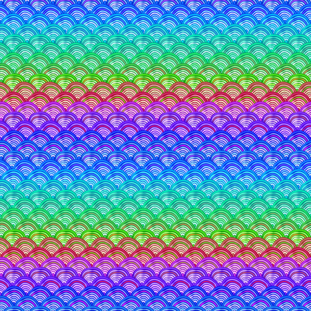 Colorful rainbow pattern with abstract fishscales. Can be used for desktop wallpaper or poster,for pattern fills, surface textures, web page backgrounds, textile and more Vettoriali