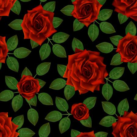 Patrones sin fisuras con rosas rojas. Hermosas flores realistas con hojas. Capullo de rosa fotorealíptico, vector limpio resultado detallado alto.