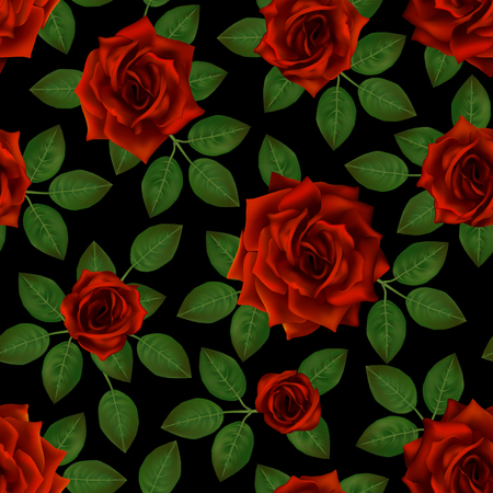 Seamless pattern with red roses. Beautiful realistic flowers with leaves. Photorealixtic rose bud, clean vector high detailed result .