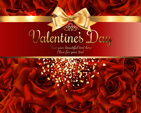 Beautiful romantic card for valentine s day or wedding, red roses background, place for you text with gold ribbon and bow, with shiny heart - shaped confetti