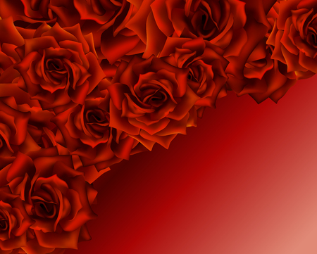 Beautiful romantic card for valentine s day or wedding, red roses background, place for you text. Illusztráció