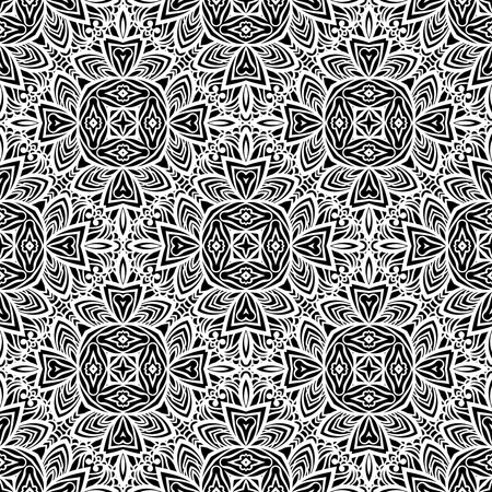 Seamless pattern in Moroccan style mosaic tile. Islamic monochrome traditional ornament. Geometric background. Vector illustration