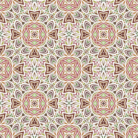 Seamless pattern in Moroccan style mosaic tile. Islamic traditional ornament. Geometric background. Vector illustration