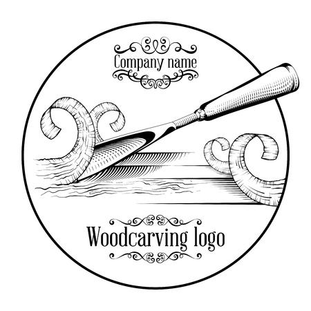 Logotipo de tallado en madera Ilustración con un cincel, cortando una rebanada de madera, logotipo de estilo vintage, grabado aislado en blanco y negro.
