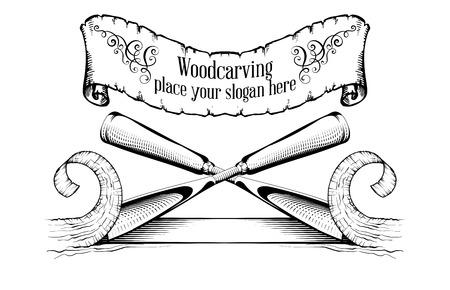 Logotipo de tallado en madera Ilustración con un cincel, cortando una rebanada de madera, logotipo de estilo vintage, grabado aislado en blanco y negro. Logos