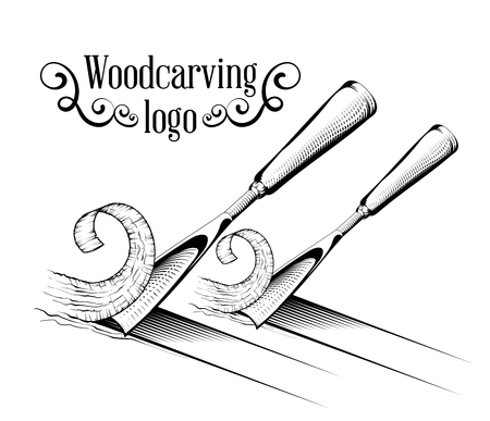 Woodcarving logotype Illustration with a chisel, cutting a wood slice, vintage style logo, black and white isolated engraving.