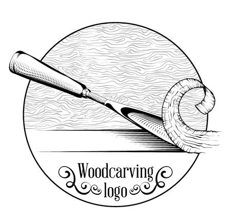 Holzschnitzerei Logo Illustration mit einem Meißel, Schneiden einer Holzscheibe, Logo im Vintage-Stil, isolierte Schwarz-Weiß-Gravur.