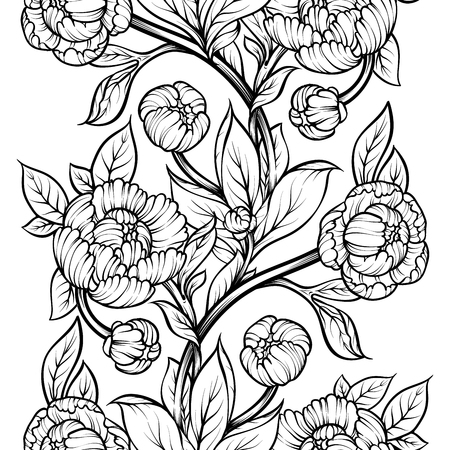 Peony flower seamless pattern line drawing. Vector hand drawn engraved floral background Black ink sketch. Great for invitation card, fabric, print and decorations.