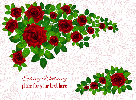 Set of beautiful bouquets with red roses and leaves. Floral arrangement for decoration, perfect for wedding invitation, birthday, Valentines Day, mother s day.