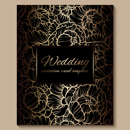 Antique royal luxury wedding invitation, gold on black background with frame and place for text, lacy foliage made of roses or peonies with shiny gradient.