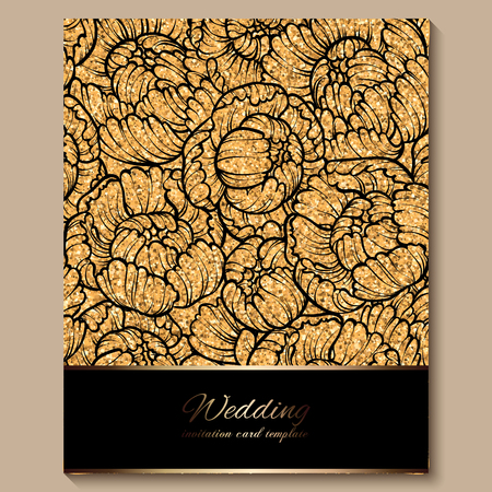 Antique royal luxury wedding invitation card, golden glitter background with frame and place for text, black lacy foliage made of roses or peonies .