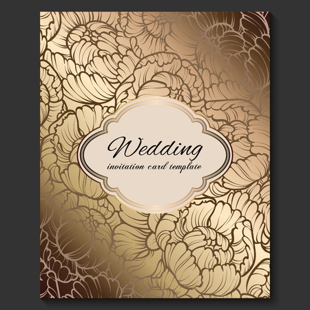 Antique royal luxury wedding invitation, gold on beige background with frame and place for text, lacy foliage made of roses or peonies with shiny gradient.
