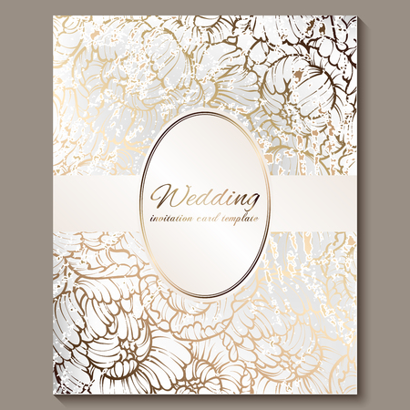 Antique royal luxury wedding invitation, gold on white background with frame and place for text, lacy foliage made of roses or peonies with shiny gradient.