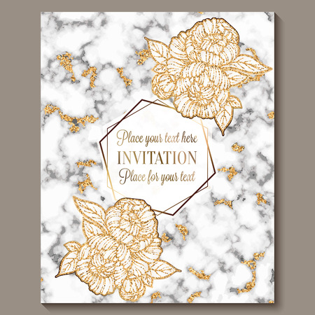Luxury and elegant wedding invitation cards with marble texture and gold glitter background. Modern wedding invitation decorated with peony flowers.