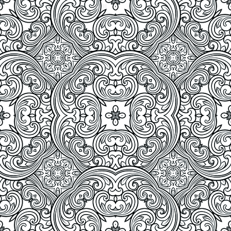 Seamless geometric line pattern in eastern or arabic style. Exquisite monochrome texture. Black and white graphic background, lace pattern.