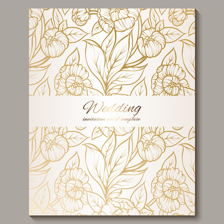 Exquisite royal luxury wedding invitation, gold on white background with frame and place for text, lacy foliage made of roses or peonies with golden shiny gradient