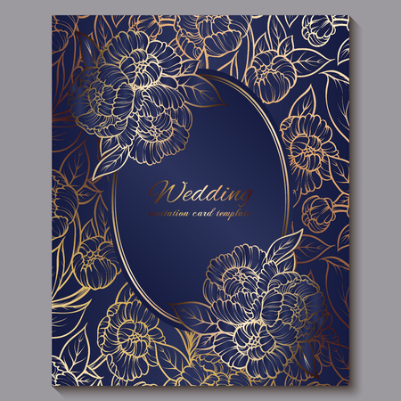Exquisite royal luxury wedding invitation, gold on blue background with frame and place for text, lacy foliage made of roses or peonies with golden shiny gradient
