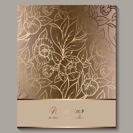 Exquisite royal luxury wedding invitation, gold floral background with frame and place for text, lacy foliage made of roses or peonies with golden shiny gradient