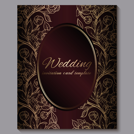 Exquisite red royal luxury wedding invitation, gold floral background with frame and place for text, lacy foliage made of roses or peonies with golden shiny gradient Illustration
