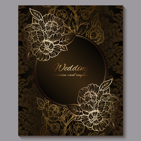 Exquisite chocolate royal luxury wedding invitation, gold floral background with frame and place for text, lacy foliage made of roses or peonies with golden shiny gradient