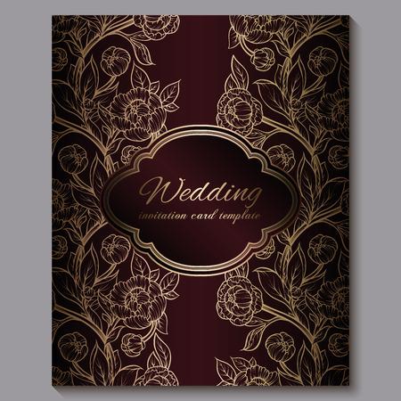 Exquisita invitación de boda de lujo real rojo, fondo floral dorado con marco y lugar para texto, follaje de encaje de rosas o peonías con degradado dorado brillante