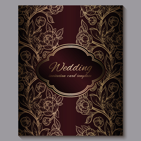 Exquisite red royal luxury wedding invitation, gold floral background with frame and place for text, lacy foliage made of roses or peonies with golden shiny gradient