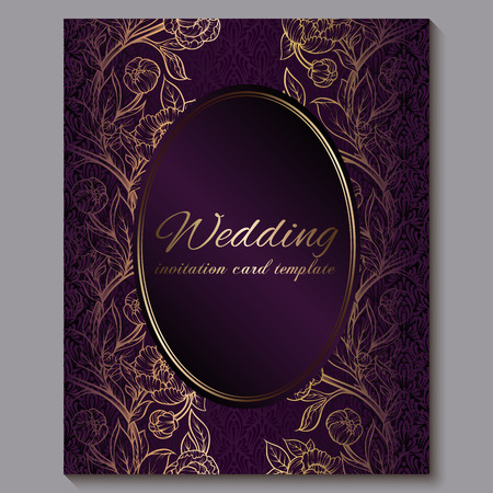 Exquisite royal purple luxury wedding invitation, gold floral background with frame and place for text, lacy foliage made of roses or peonies with golden shiny gradient