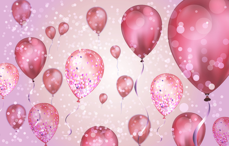 Elegant Pink Flying helium Balloons with Bokeh Effect and glitter. Wedding, Birthday and Anniversary Background. Vector illustration for invitation card, party brochure, banner.