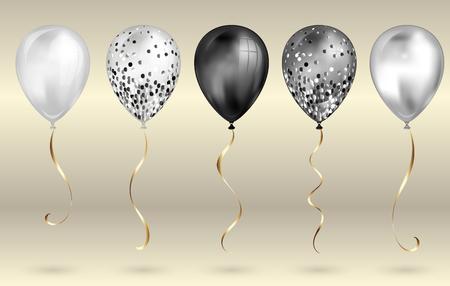 Conjunto de 5 globos de helio 3D realistas en blanco y negro brillantes para su diseño. Globos brillantes con purpurina y cinta dorada, decoración perfecta para folletos de fiestas de cumpleaños, tarjetas de invitación o baby shower.