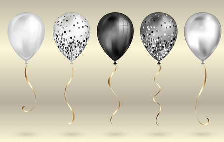 Set of 5 shiny black and white realistic 3D helium balloons for your design. Glossy balloons with glitter and gold ribbon, perfect decoration for birthday party brochures, invitation card or baby shower.