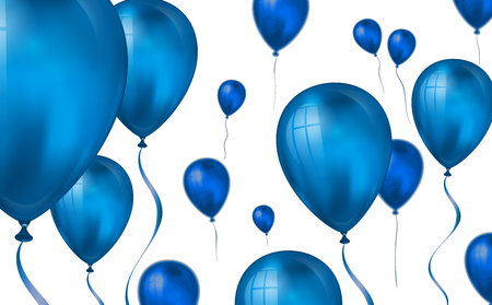 Glossy blue color Flying helium Balloons backdrop with blur effect. Wedding, Birthday and Anniversary Background. Vector illustration for invitation card, party brochure, banner.