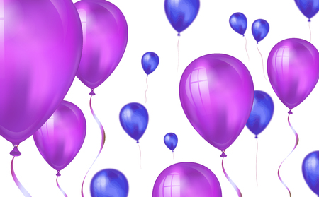 Glossy purple color Flying helium Balloons backdrop with blur effect. Wedding, Birthday and Anniversary Background. Vector illustration for invitation card, party brochure, banner. Иллюстрация
