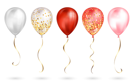Set of 5 shiny red and gold realistic 3D helium balloons for your design. Glossy balloons with glitter and gold ribbon, perfect decoration for birthday party brochures, invitation card or baby shower.  イラスト・ベクター素材