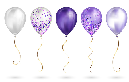 Set of 5 shiny purple realistic 3D helium balloons for your design. Glossy balloons with glitter and gold ribbon, perfect decoration for birthday party brochures, invitation card or baby shower.