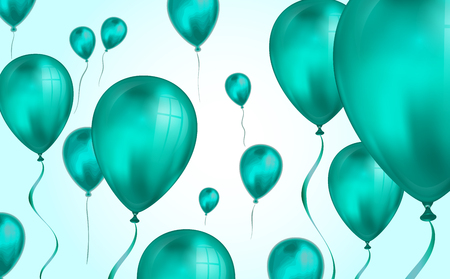 Glossy teal color Flying helium Balloons backdrop with blur effect. Wedding, Birthday and Anniversary Background. Vector illustration for invitation card, party brochure, banner.