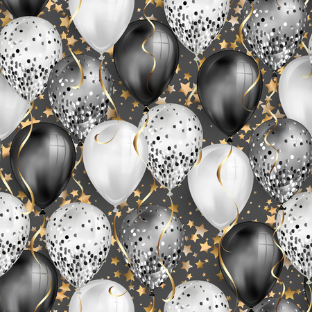 Seamless pattern glossy black and white shiny realistic 3D helium balloons with glitter and gold ribbon with star background, perfect decoration for birthday party brochures or invitation card. Illustration