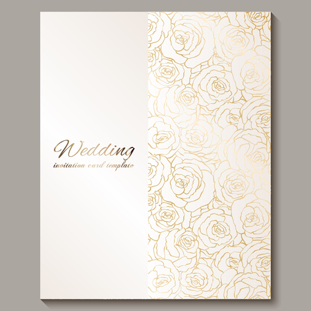Luxury gold vintage wedding invitation, floral background with place for text, lacy foliage made of roses with golden shiny gradient. Victorian wallpaper ornaments, baroque style template for design. Vektoros illusztráció
