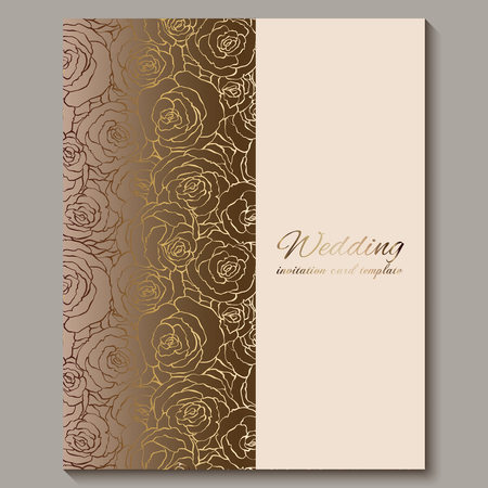 Luxury gold vintage wedding invitation, floral background with place for text, lacy foliage made of roses with golden shiny gradient. Victorian wallpaper ornaments, baroque style template for design.