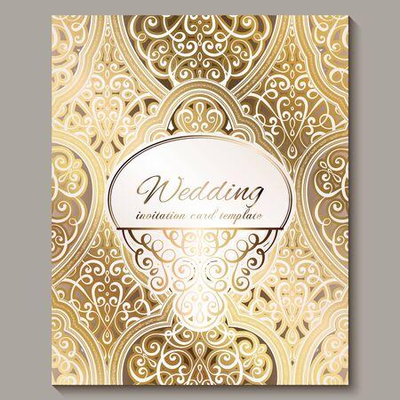 Tarjeta de invitación de boda con follaje rico oriental y barroco dorado brillante. Fondo islámico adornado para su diseño. Islam, árabe, indio, Dubai